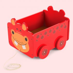 Wooden Pull Along Toy Box with Hippo imprint