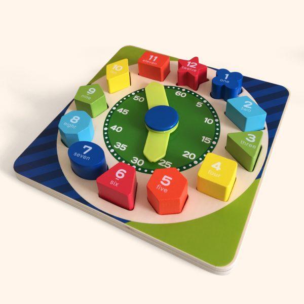 Wooden Teaching Clock Shape Sorter Puzzle