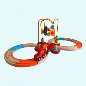 Wooden Toy Train Railway Playset