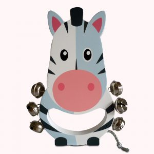 Colourful Zebra Wooden Hand Bell