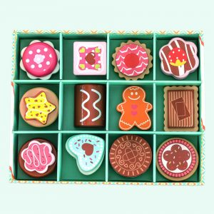 Colourful Wooden Biscuit Selection Box