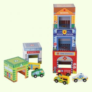 Kids Traffic Match 'n Stack Blocks With Wooden Vehicles Toys