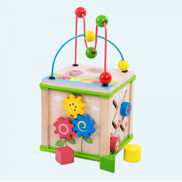 Multi Activity Wooden Cube For Toy Toddlers