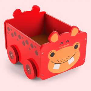 Hippo Pull Along Toy Storage Box for kids