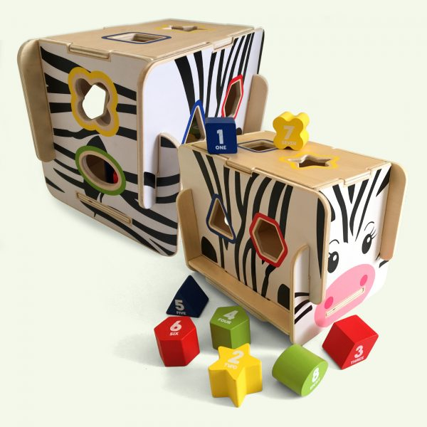 Wooden Shape Sorter Zebra Toy