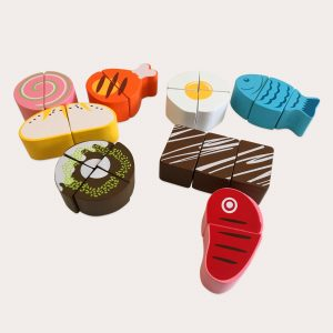Wooden Play Food Pieces Toy for Kids
