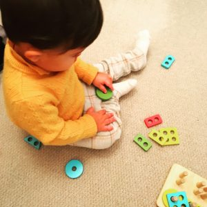 Toddler Play with Geometric Shape Puzzle