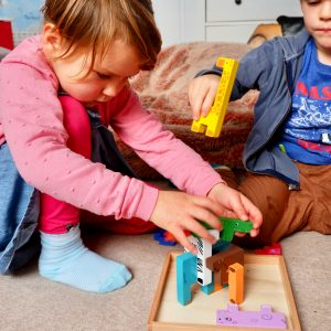 Kids playing with the wooden animal blocks