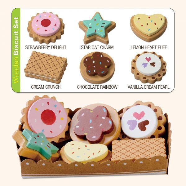 Kids wooden biscuits toys set