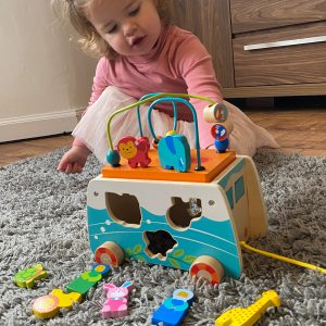Girl Playing with Wooden Noah Playset