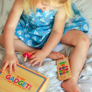 Young Girl Enjoying with Gadget Box Set