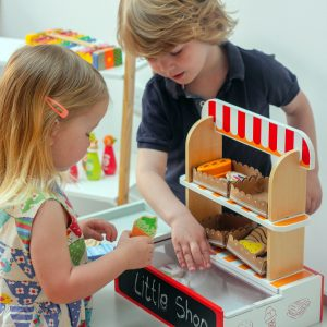 Kids Playing with Unique Wooden Toy Shop