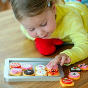 Baby Playing With Wooden Pretend Play Food Set