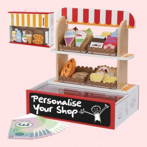 Wooden Toy Shop as 26 pieces Wooden food play items