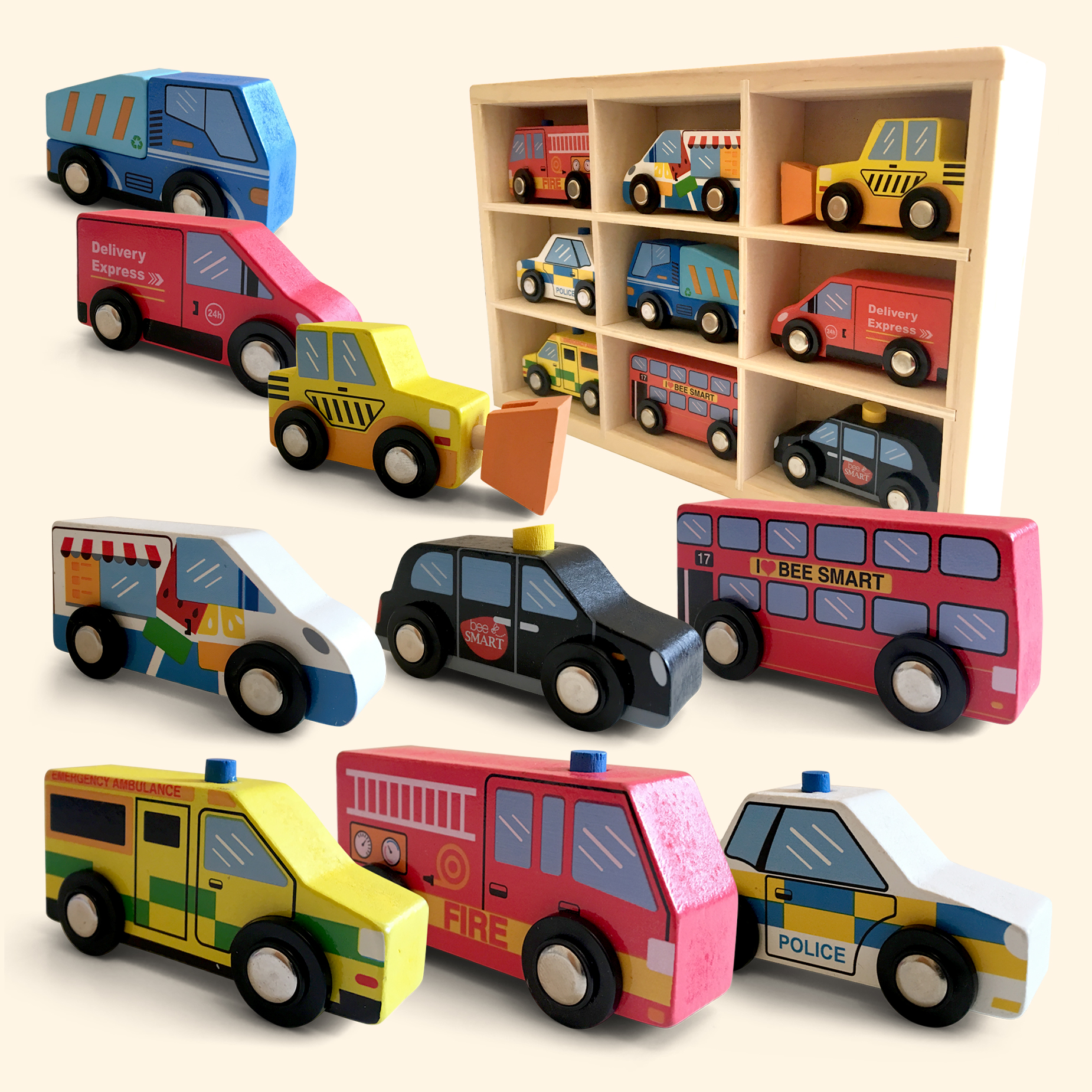 9 Bright & Coloruful Wooden Vehicle set