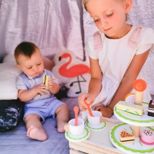 Kids playing with Wooden Tea Set Toys